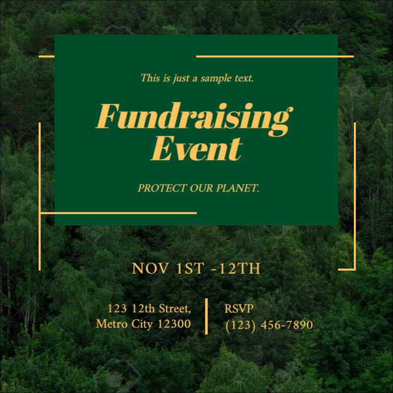 Green marketing template design for fundraising event by Designmaker.