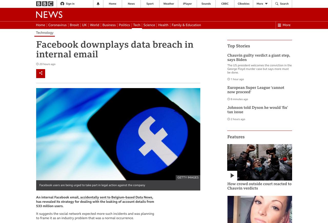 Screenshot of a real BBC News article