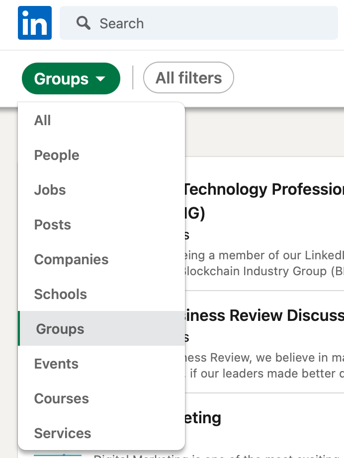 Search for groups and events on LinkedIn where you can find possible networking opportunities.