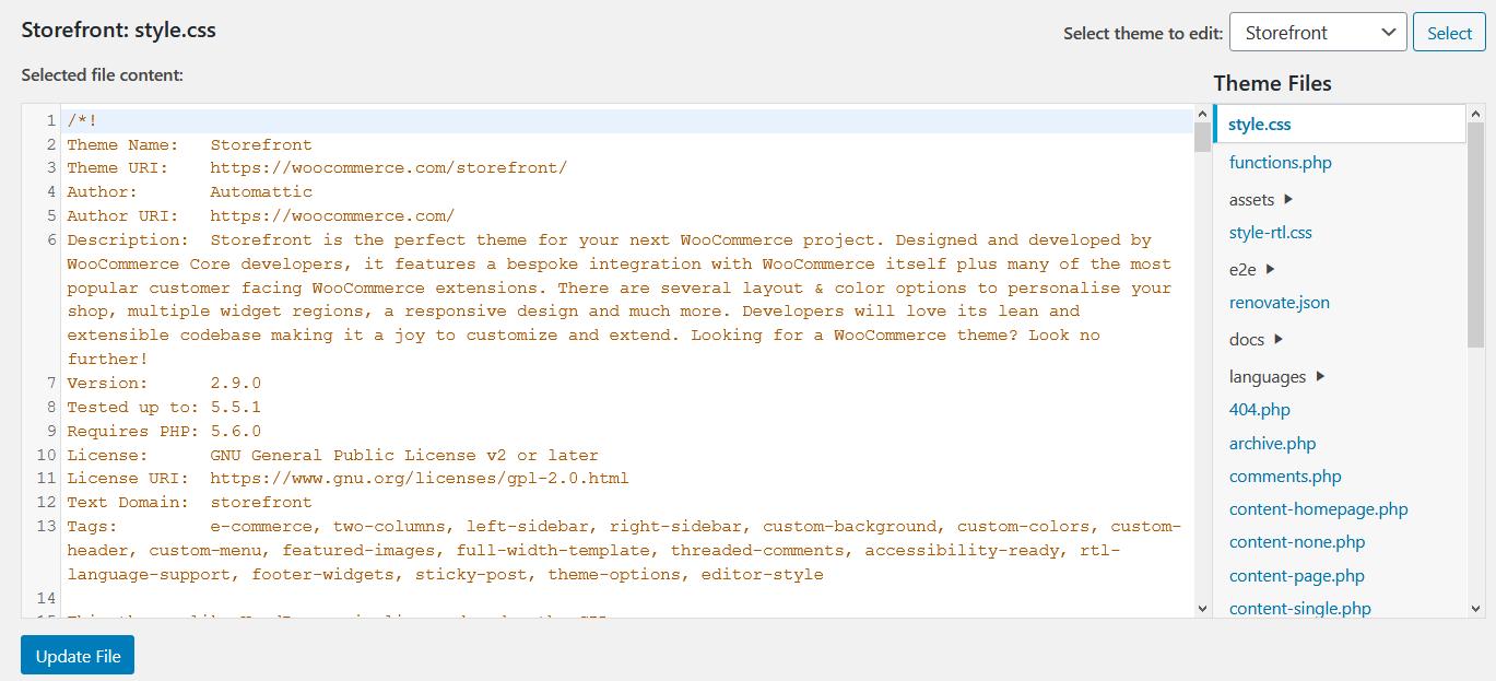 WordPress code files