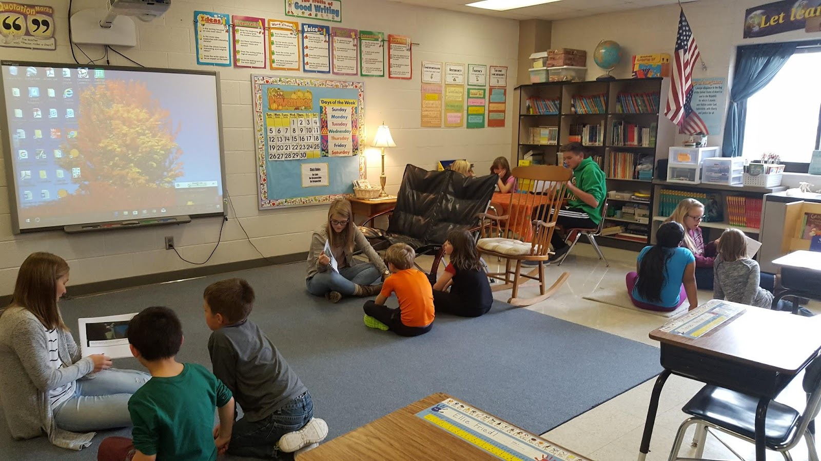 HS students reading to elem students