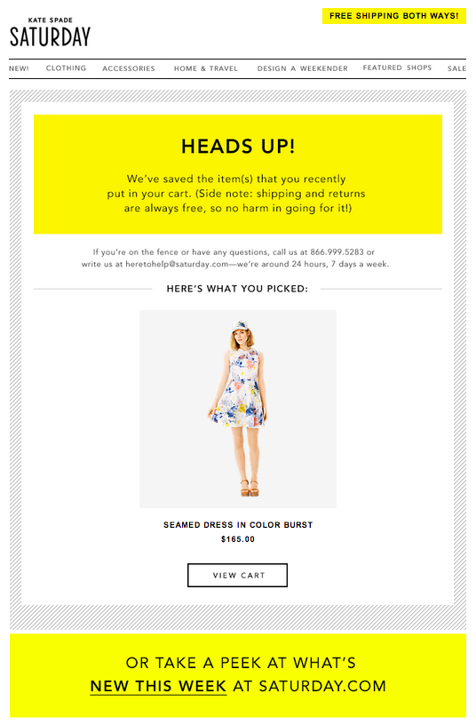 kate spade cart abandonment email