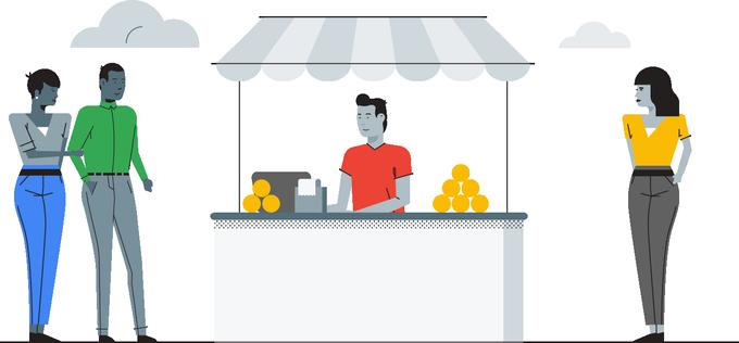 Man at a lemonade stand