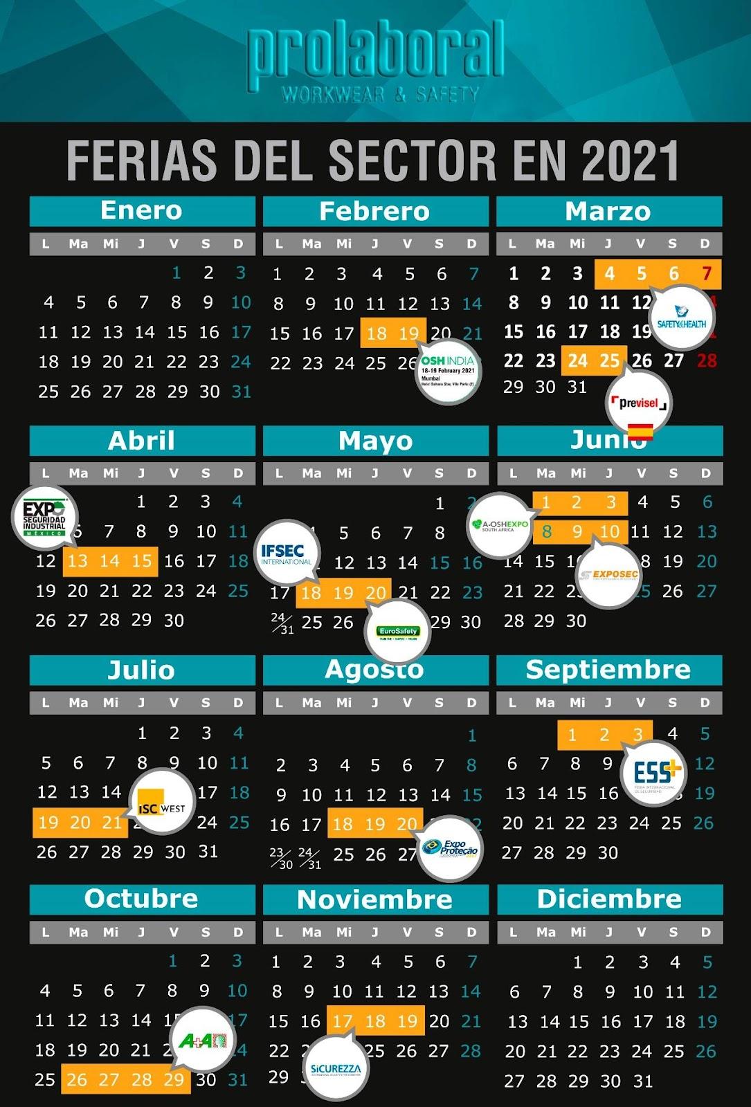 Calendario de ferias de seguridad laboral 2021