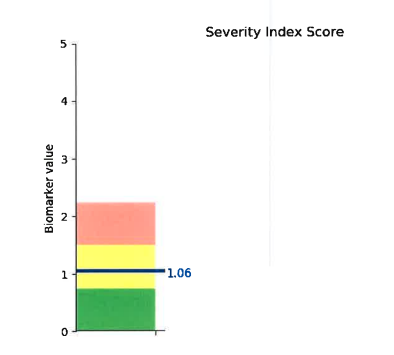 Abigail's Severity Index Score prior to treatment. (1.06 in the yellow)