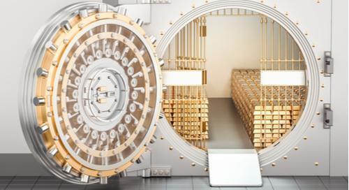 pen bank  with gold ingots inside