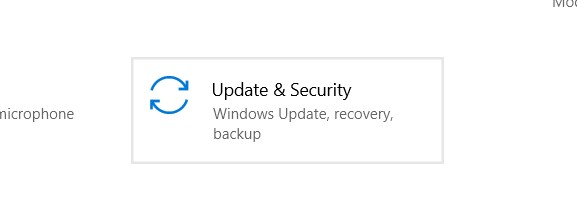 The Update & Security option in Windows Settings