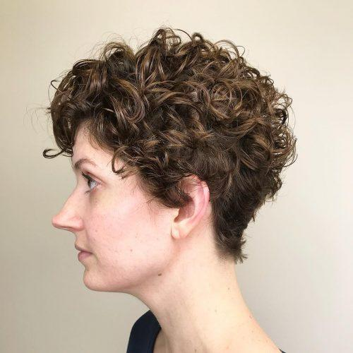 Curly and layered pixie haircut