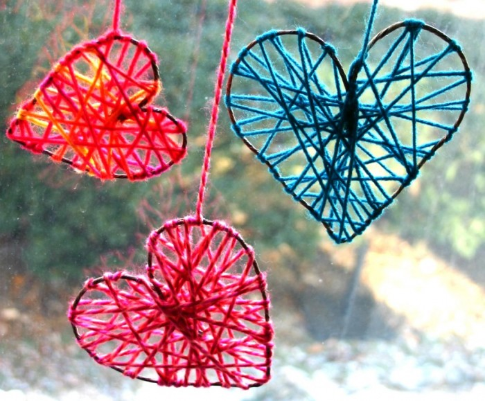 Easy Valentine Crafts Part - 36: These Little Hearts Could Hang In Your Window Year Round, Reminding You Of  Your Little Valentines. Just Take Some Floral Wire And Shape It Into A  Heart (you ...