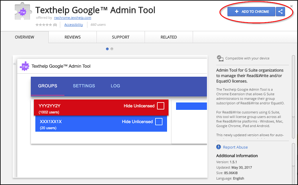 Texthelp Google™ Admin Tool Chrome Web Store Add to Chrome