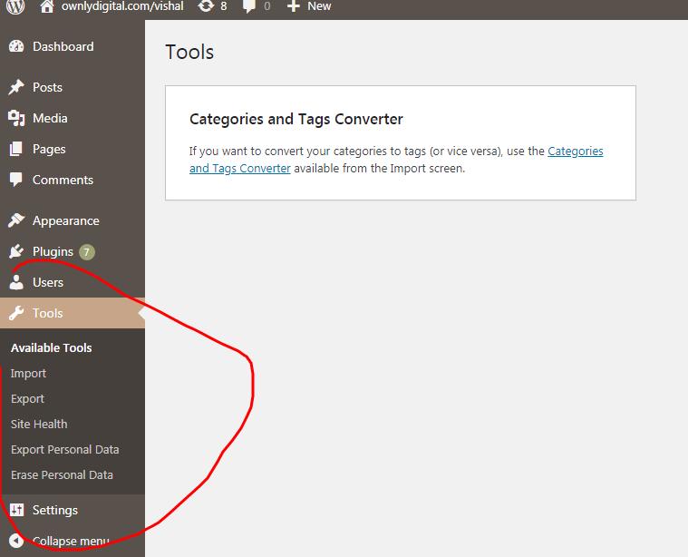 Tools In WordPress, Component In WordPress