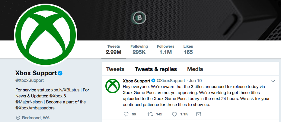 Screenshot of Xbox Twitter homepage