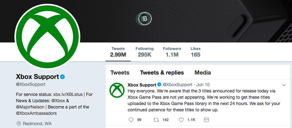 Screenshot of Xbox Twitter homepage
