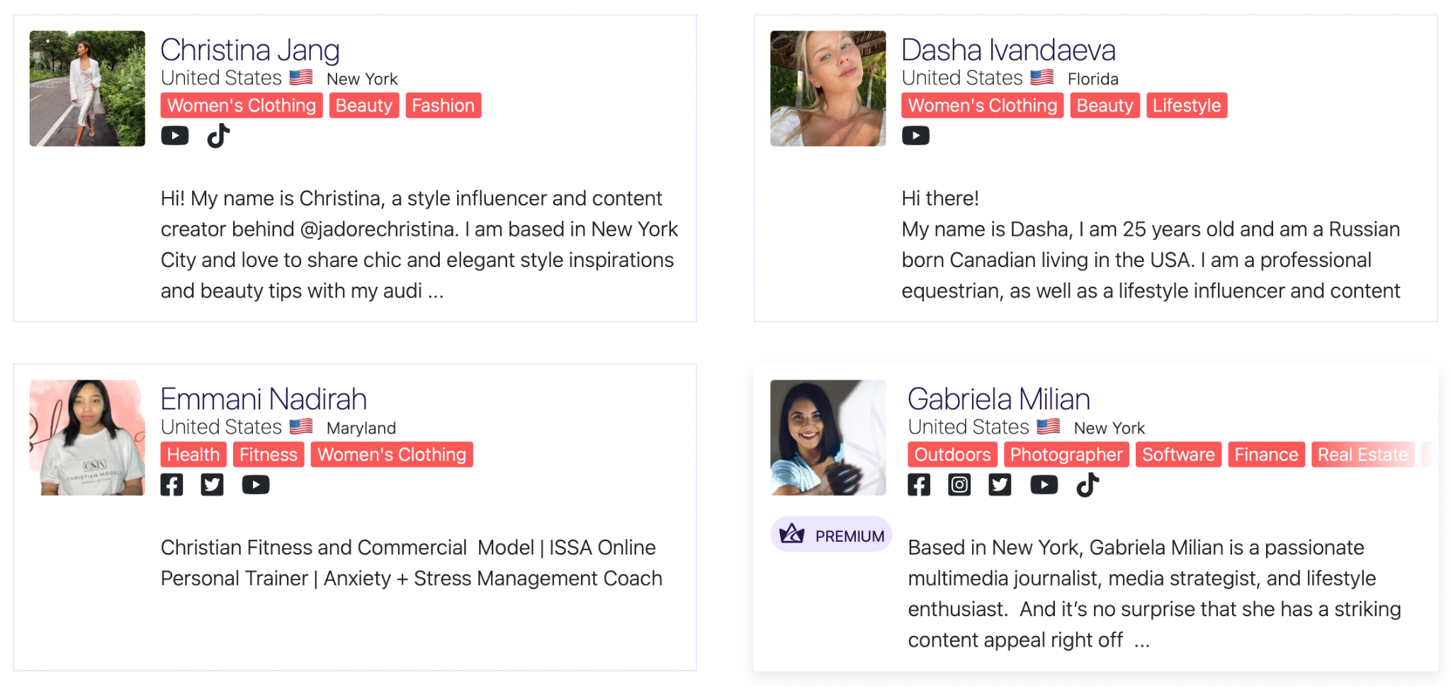 Profile snippets of influencers featured on Afluencer