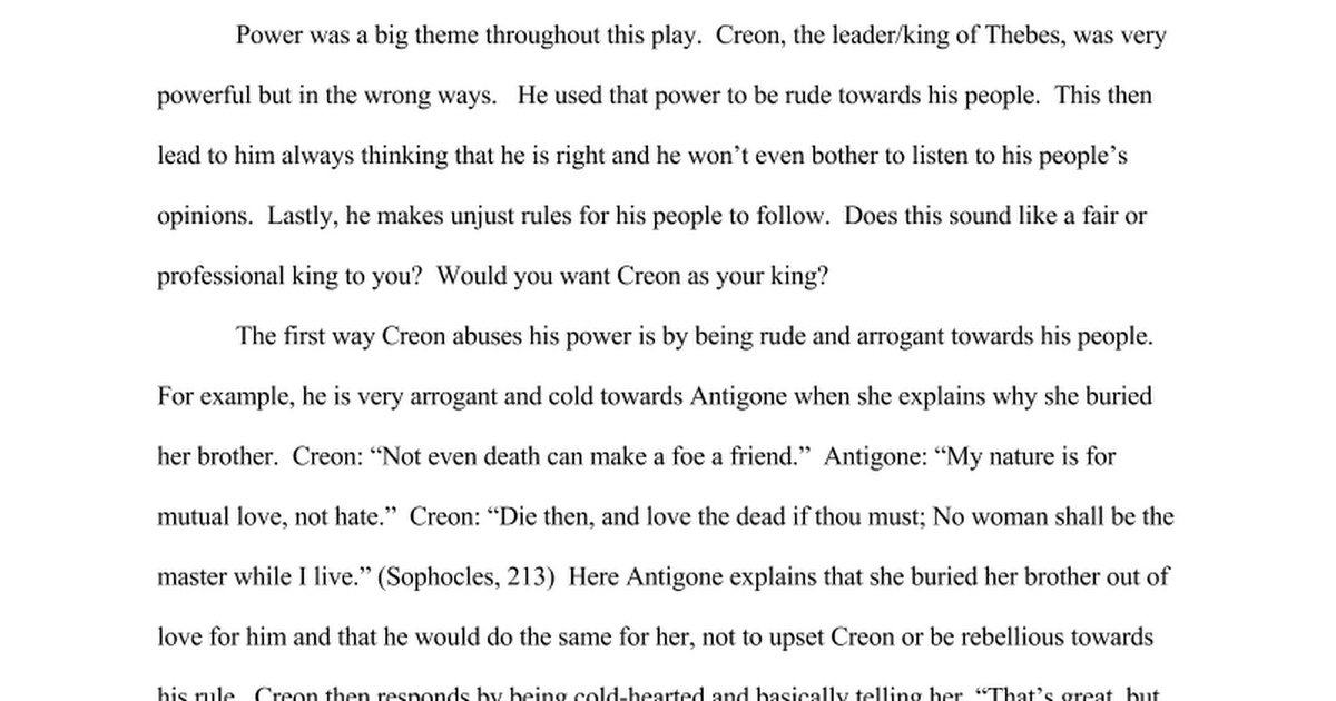 antigone theme essay abuse of power google docs