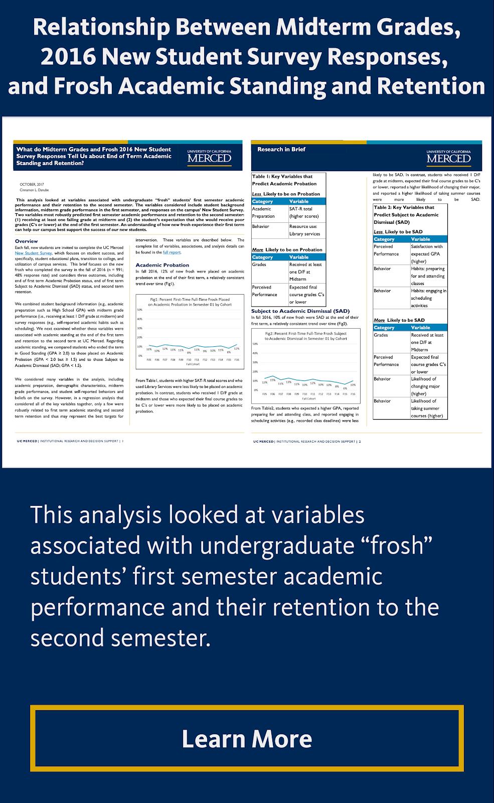 Analysis Academic Standing Retention