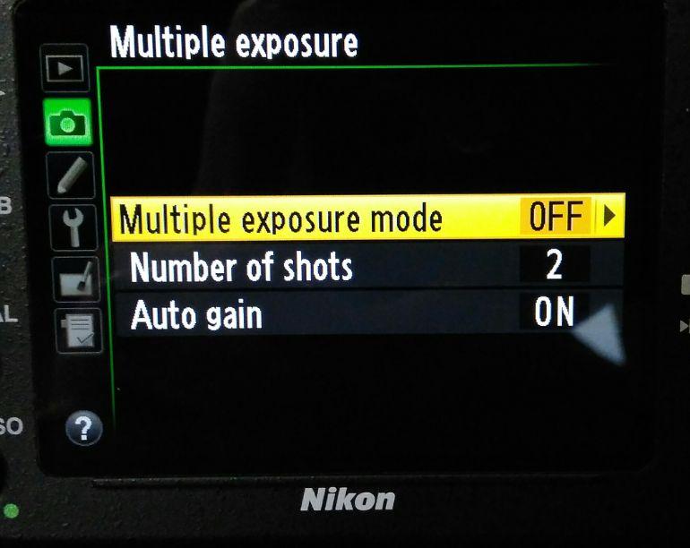 Menu dupla exposição na câmera  Nikon