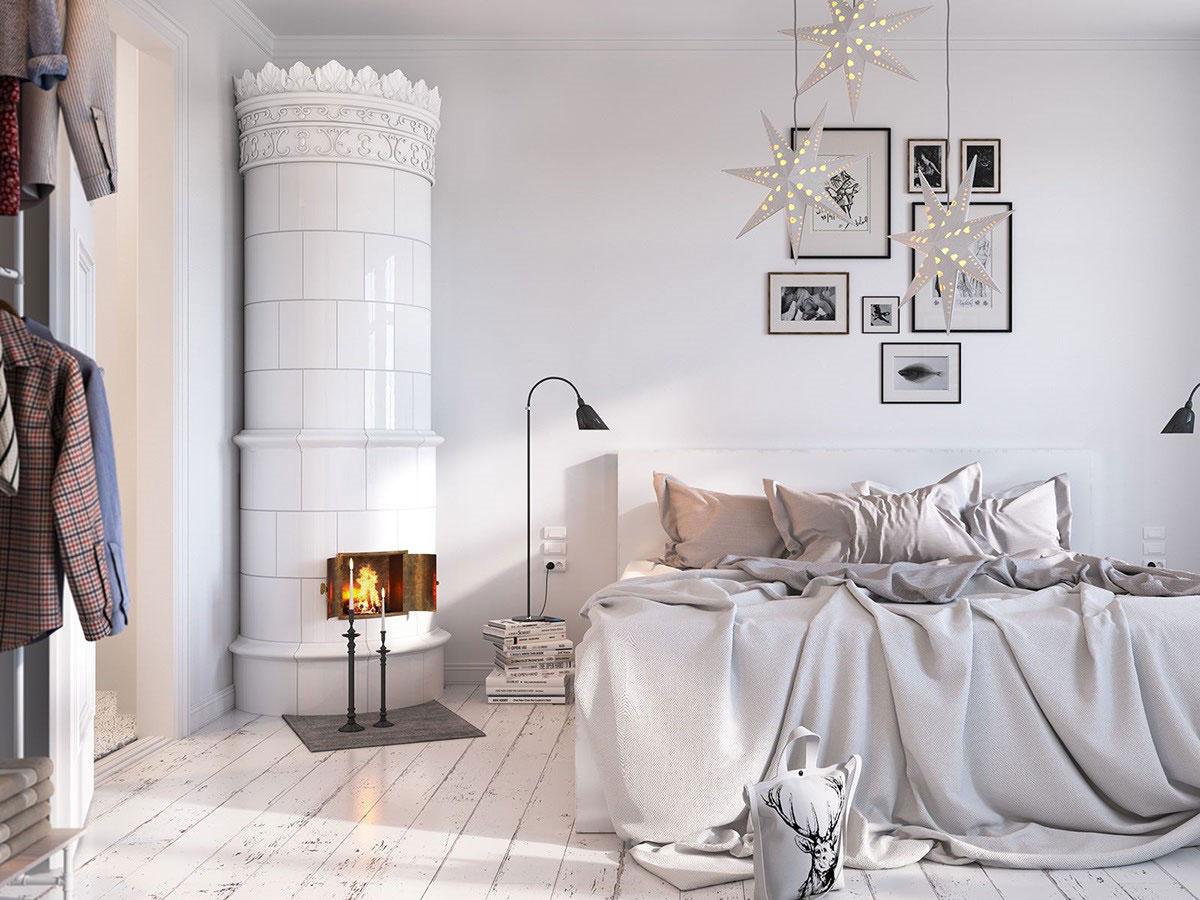 The Beautiful Fireplace in Scandinavian Bedrooms