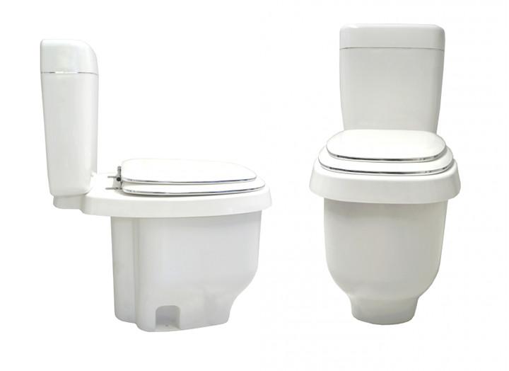Bacia sanitária com descarga econômica, cujo fecho hídrico tem apenas 200 mL de água.