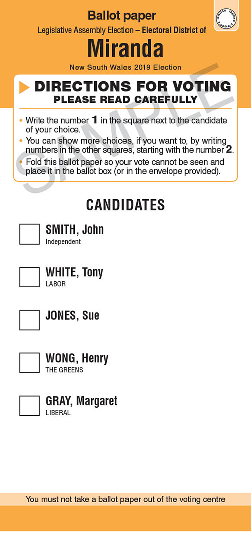 Voting Guide Ballot Paper