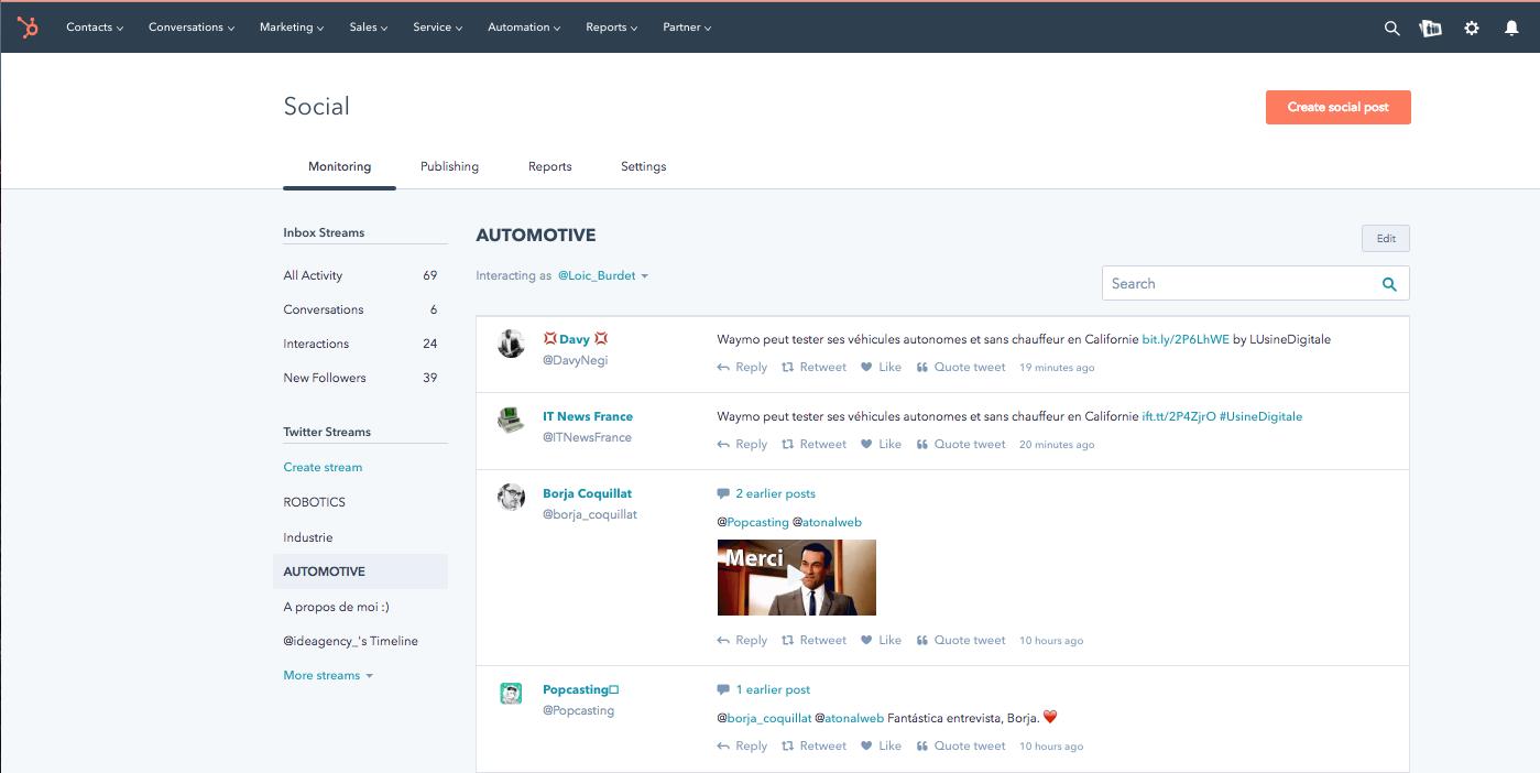 hubspot social monitoring