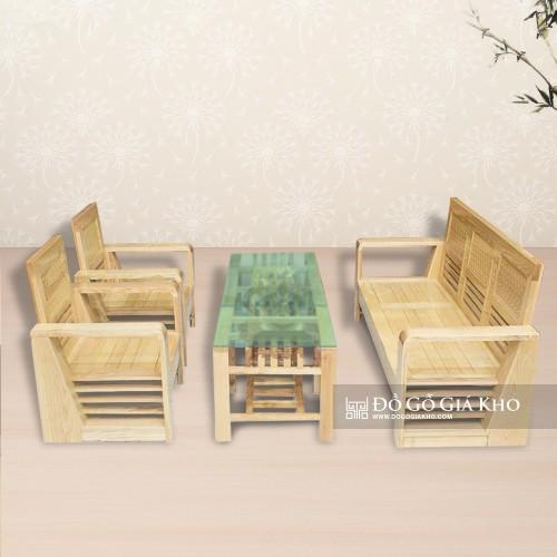 Bàn ghế hộp gỗ sồi màu tự nhiên - BG016-TN