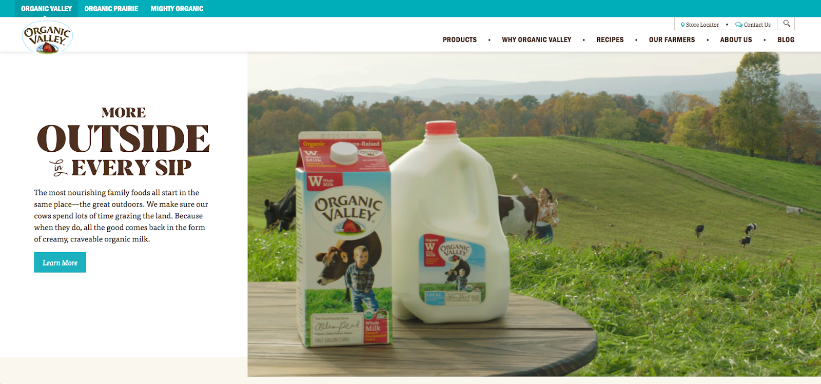 Organic Valley homepage screenshot