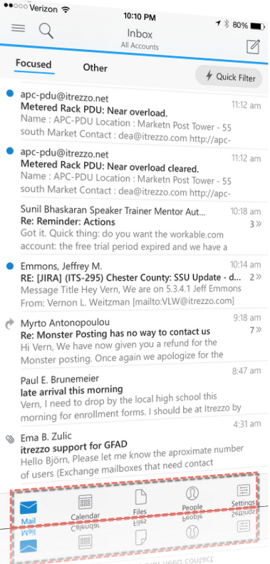 Outlook focused inbox with icon bar at the bottom
