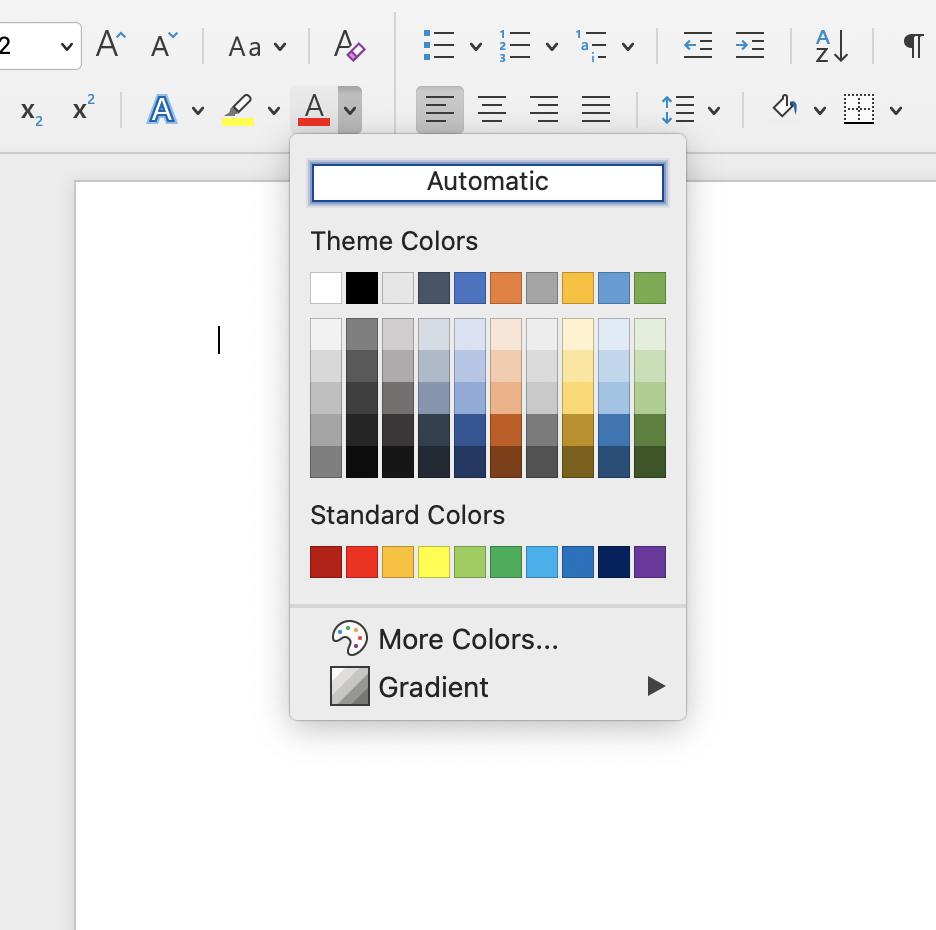 Screenshot of color options in Microsoft Word.