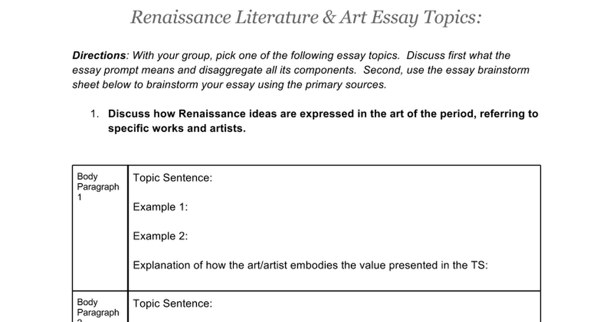 essay on renaissance literature Renaissance comparison essay sur college renaissance comparison essay the italian renaissance literature renaissance period was characterized by many.