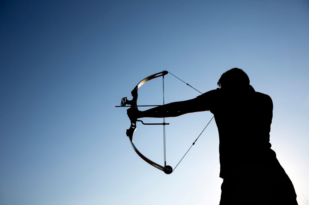 recurve bow in action