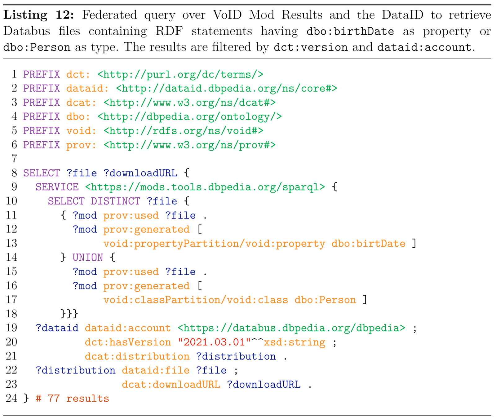 Listing 12: Federated query over VoID Mod Results and the DataID to retrieve Databus files containing RDF statements having dbo:bithData as property or dbo:Person as type. The results are filtered by dct:version and dataid:account