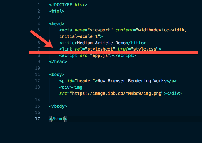 Screenshot of Code Illustrating Where The DOM Construction Is Halted