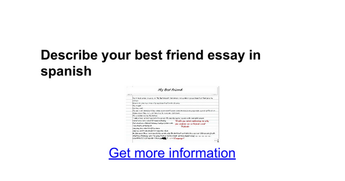 describe your best friend essay in spanish google docs