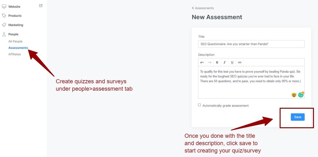 Kajabi assessment feature