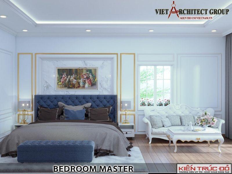 thiet ke noi that phong ngu master biet thu tan co dien 13 - Thiết kế biệt thự 3 tầng kiến trúc tân cổ điển ở Huế