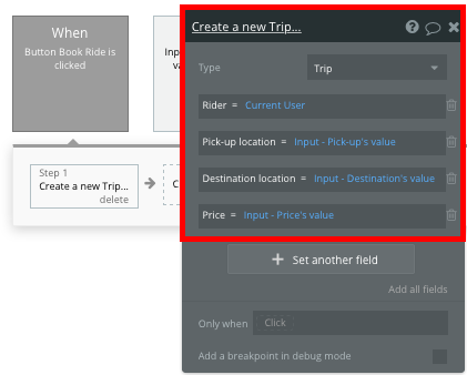 Create a new trip in Bubble workflow