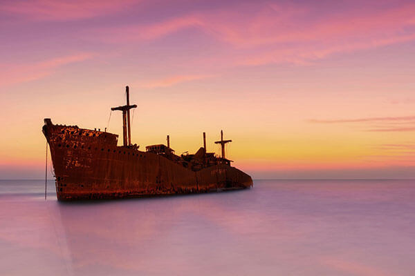 غروب کشتی یونانی