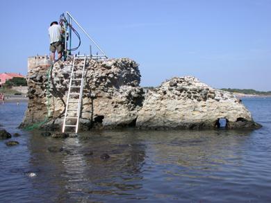 الحفر لعينات الخرسانة الرومانية في توسكانا Tuscany 2003