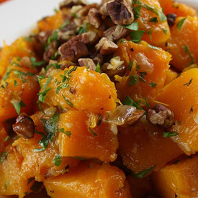 brown sugar butternut squash with roasted pecans
