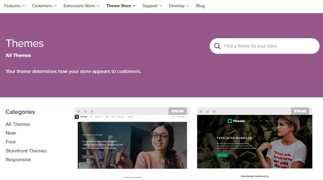 página de temas do WooCommerce em inglês