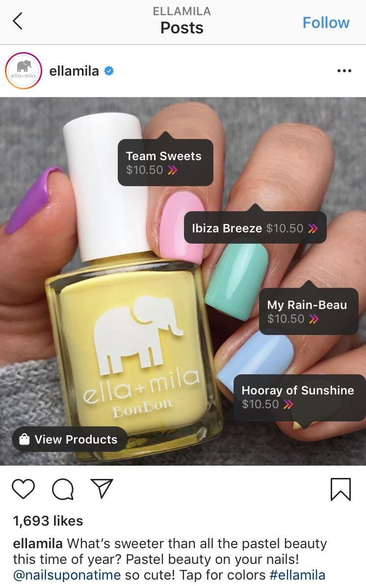 example of a shoppable Instagram post
