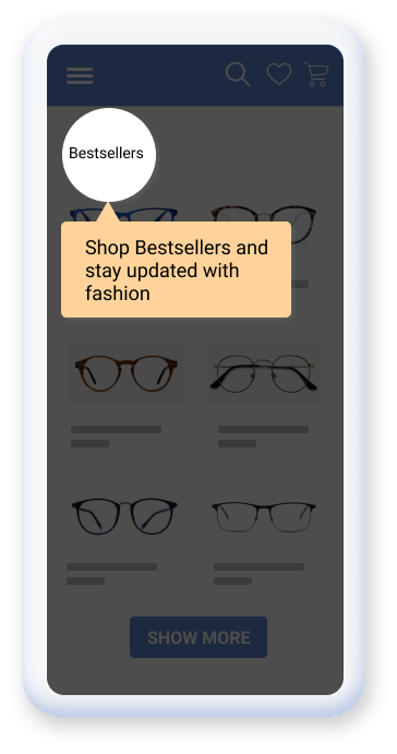 An e-commerce app where the bestselling products are highlighted to the user