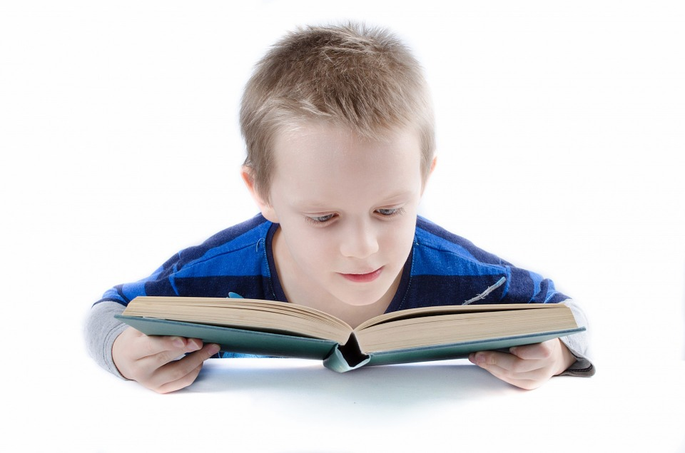 boy child reading a book