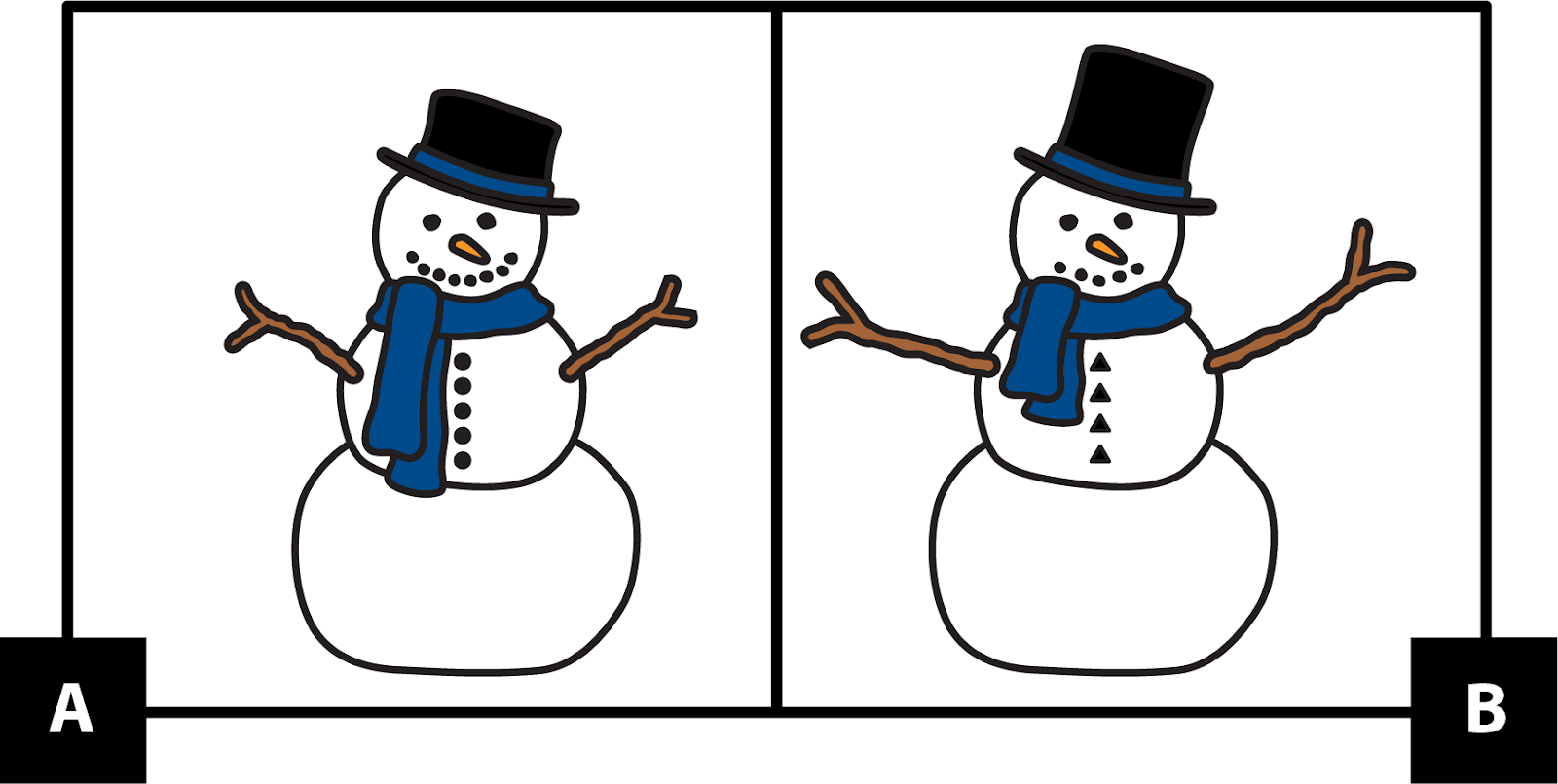 A. shows a snow person with a short black top hat. The face has 2 dots for eyes and an orange triangle nose. The smile has 8 dots. It's wearing a long blue scarf. The arms are 2 short sticks with 2 short parts that look like fingers. It has 5 circle buttons. B. shows a snow person with a tall black top hat. The face has 2 dots for eyes and an orange triangle nose. The smile has 5 dots. It's wearing a short blue scarf. The arms are 2 long sticks with 2 short parts that look like fingers. It has 4 triangle buttons.