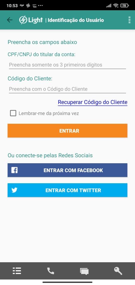 login para emissão de código de barras no app light clientes