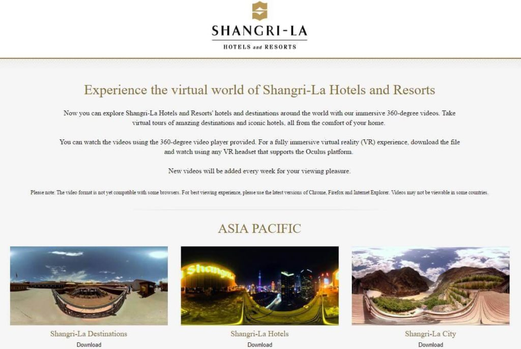 Shangri-la-Hoteles y Resorts realidad virtual