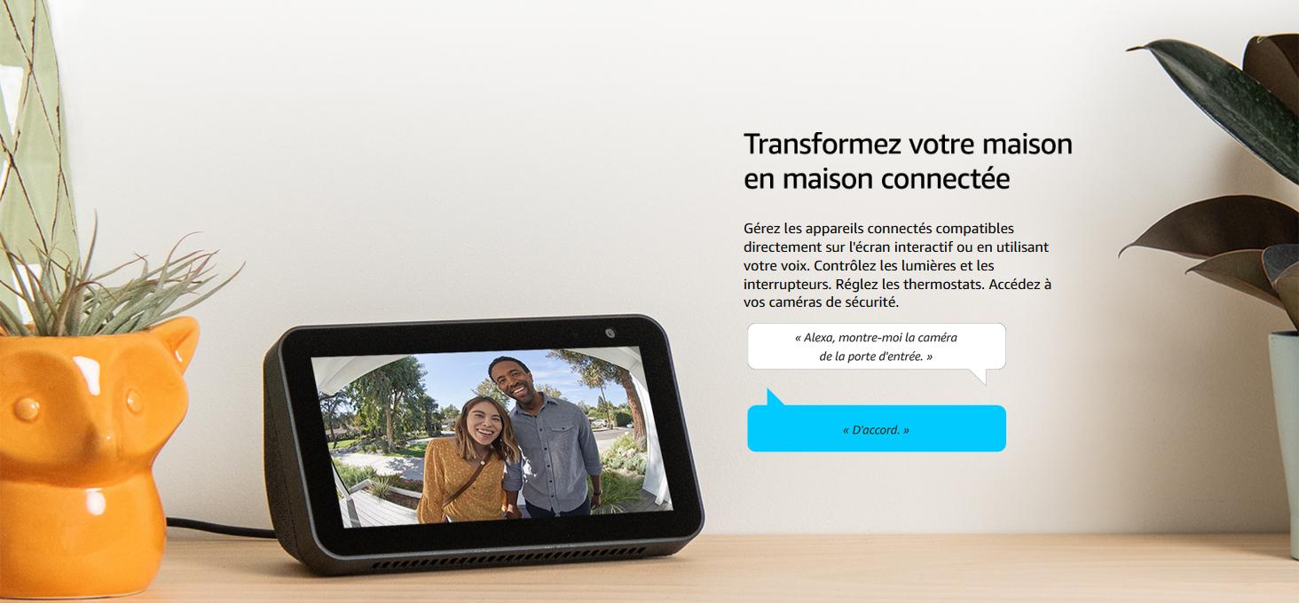 Présentation de l'aide Alexa avec un écran, présent sur Amazon.fr. Cette aide combinant commande vocale et un écran intégré se nomme Echo Show 5.