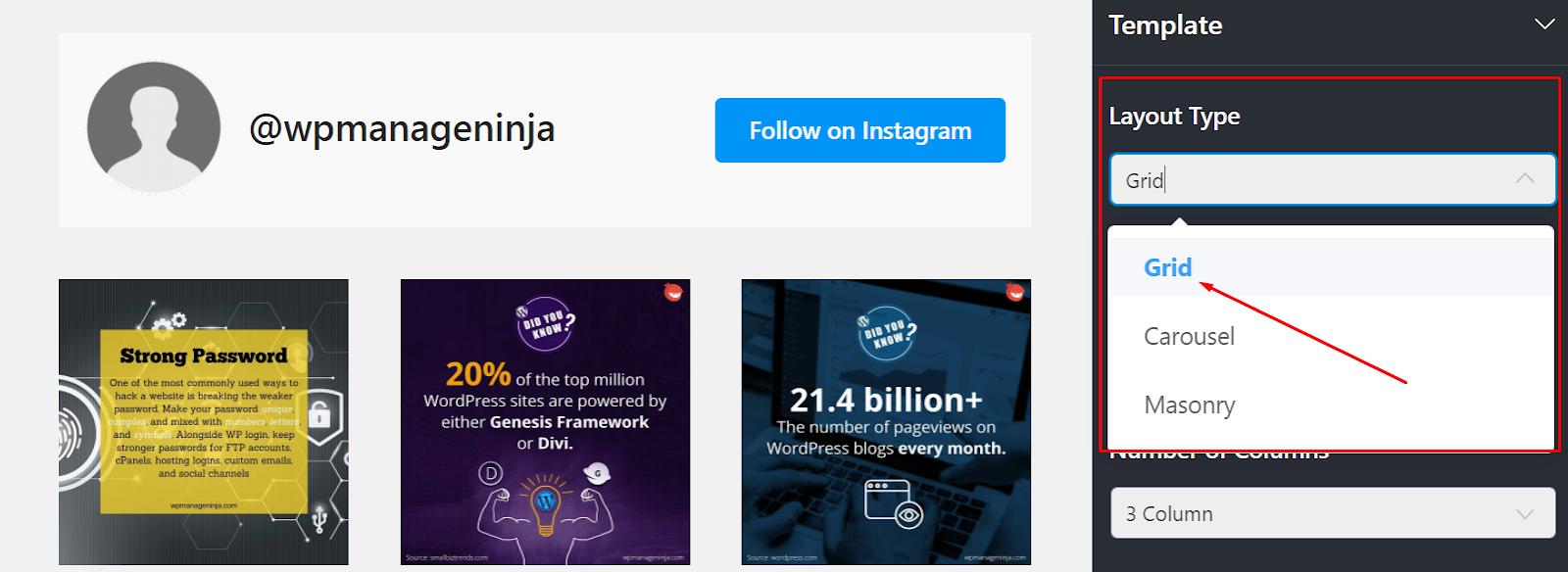 Instagram layout Layout type