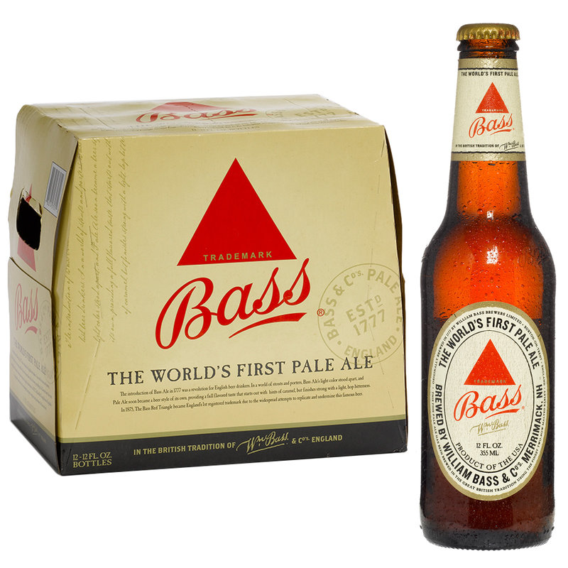 12-Pack of Bass Pale Ale next to a single bottle